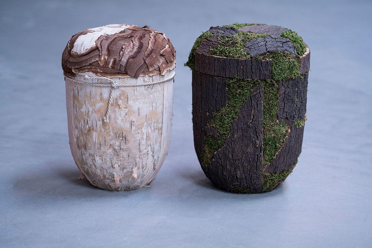 Urne i birk eller bark